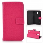 Lychee Pattern PU Leather Case w/ Card Holder Slots for Samsung Galaxy S4 Mini i9190 - Deep Pink