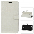 Stylish Crocodile Pattern Flip-open Protective PU Leather Case for Samsung i9200 - White