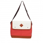 Stylish Canvas + PU Leather Shoulder Bag - Red + Brown + White