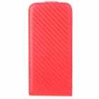 HOTSION TF03 Woven Pattern Protective PU Leather Flip-Open Case for Iphone 5 - Red