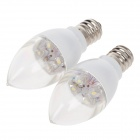 BR Elite E12 1W 28lm 6000K 4-LED White Light LED Bulb - White + Silver (AC220~250V / 2 PCS)