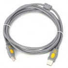 USB 2.0 A Male to B Male High Speed Printer Data Connection Cable w/ Ring - Grey (3m)