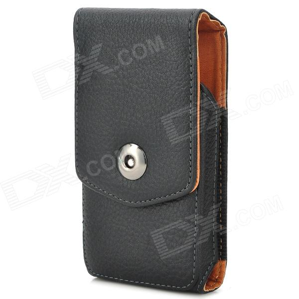 Lychee Pattern Protective Flip-Open PU Leather Case w/ Belt Clip for Samsung Galaxy S4 Mini - Black bamboo pattern protective pu flip open case w stand for samsung s4 mini deep brown