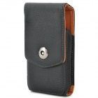Lychee Pattern Protective Flip-Open PU Leather Case w/ Belt Clip for Samsung Galaxy S4 Mini - Black