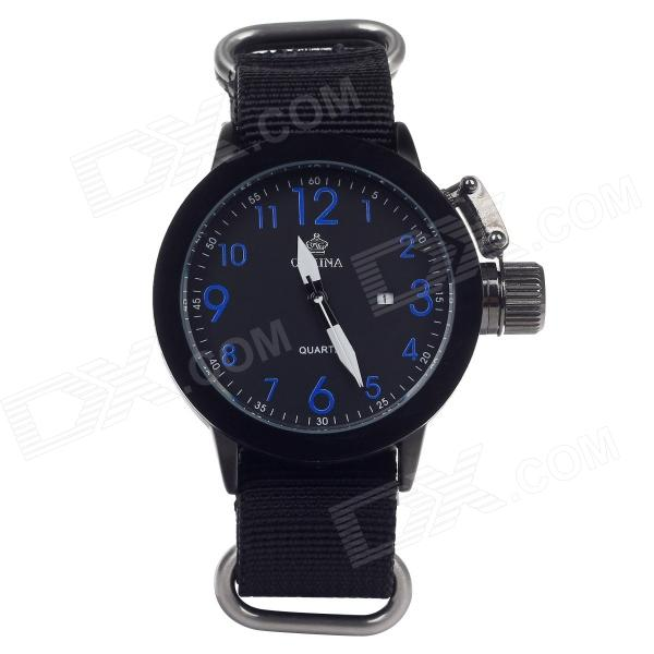 ORKINA W010 Stylish Men's Quartz Wrist Watch + Simple Calendar - Black + Blue + White (1 x LR626) wishdoit watch men top brand luxury watches simple business style fashion quartz wrist watch mens stainless steel watch relogio
