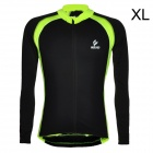 ARSUXEO Men's Cycling Polyester + Spandex Long-sleeve Jacket - Black + Fluorescent Green (XL)