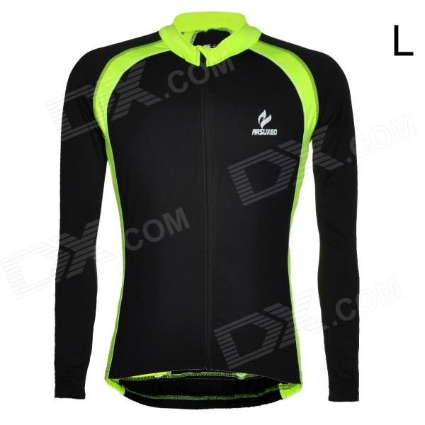 ARSUXEO Men's Cycling Polyester + Spandex Long-sleeve Jacket - Black + Fluorescent Green (L) arsuxeo ar608s quick drying cycling polyester jersey for men fluorescent green black l