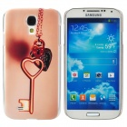 The Key of Love Style Protective Plastic Back Case for Samsung Galaxy S4 i9500 - Khaki + Transparent