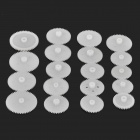 DIY Plastic Gears sortiment Set - White (19 PCS)