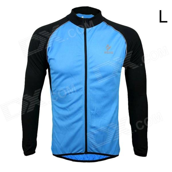 ARSUXEO AR6020 Men's Cycling Quick-drying Polyester Long Sleeves Jacket - Blue + Black (Size L) arsuxeo ar13d3 outdoor sport quick drying cycling polyester jersey for men red white black l