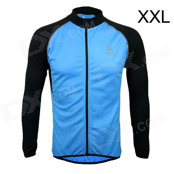 ARSUXEO AR6020 Men's Cycling Quick-drying Polyester Long Sleeves Jacket - Blue + Black (Size XXL) arsuxeo ar13d3 outdoor sport quick drying cycling polyester jersey for men red white black l