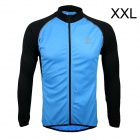 ARSUXEO AR6020 Men's Cycling Quick-drying Polyester Long Sleeves Jacket - Blue + Black (Size XXL)