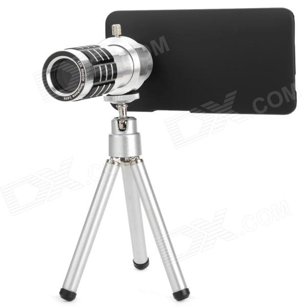 12X Zoom Camera Lens Telescope for HTC One M7 - Silver + Black 10x zoom telescope lens with tripod