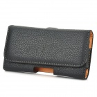Lychee Pattern Protective PU Leather Flip-open Waist Bag for Samsung GALAXY S4 Mini - Black