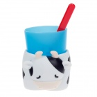 Lovely Cow Style Plastic Toothbrush and Cup With Cup Base for Children - White + Blue + Red