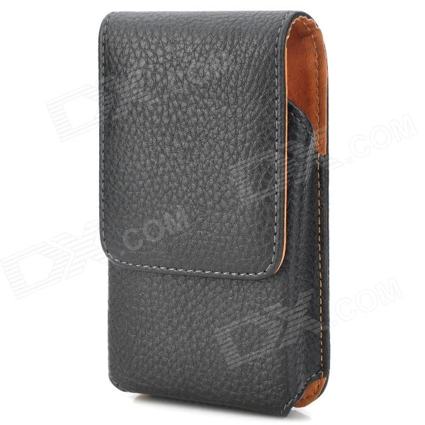 Lychee Pattern Protective PU Leather Top-open Waist Bag for Samsung GALAXY S4 Mini - Black 8x zoom telescope lens back case for samsung i9100 black