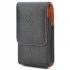 Lychee Pattern Protective PU Leather Top-open Waist Bag for Samsung GALAXY S4 Mini - Black