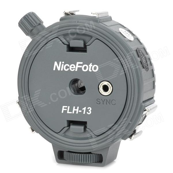 NiceFoto FLH-13 One Sync Socket to Three Hot Shoe Adapter for Flashlight - Grey