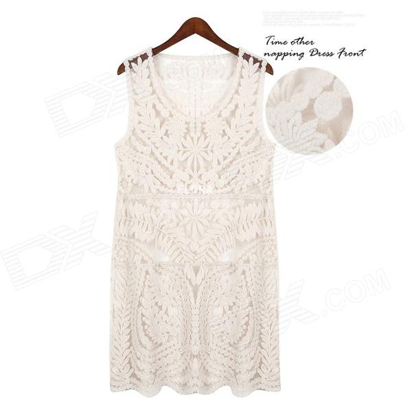 Casual Hollow-oiut Full Lace Sleeveless Vest Dress - Beige
