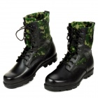 QiangRen 3515 Outdoor Fashionable Men's Leather Boots - Black + Camouflage Green (Size 44)
