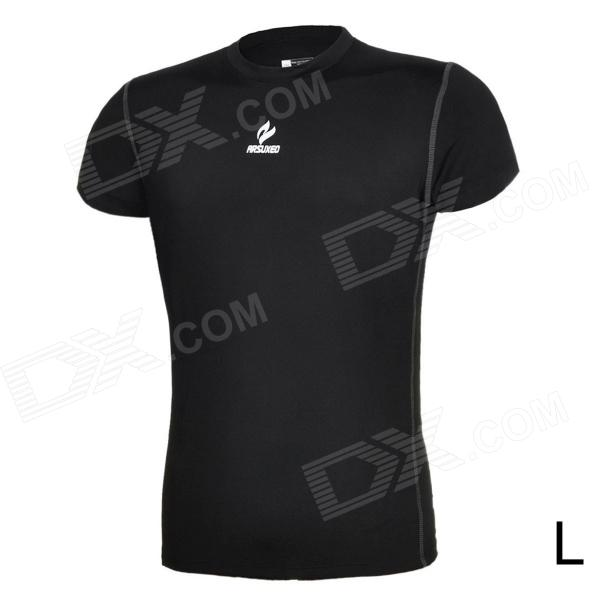 ARSUXEO AR6002S Men's Sports Quick-drying Polyester + Lycra Skin-tight T-shirt - Black (L) a s 98 415203 101 6002 nero
