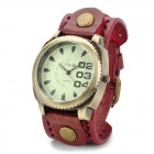 JINGYI Fashion PU Leather Band Analog Quartz Wrist Watch - Red Brown + Bronze (1 x LR626)