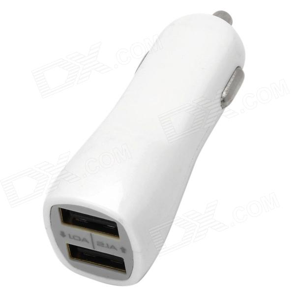 20769 Dual USB Car Cigarette Adapter for Mobile Phone + GPS + More - White (DC 12~24V)