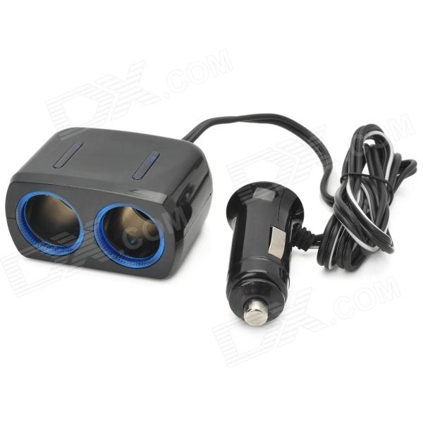 Car Cigarette Lighter Socket Splitter w/ LED Light for Cell Phones  - Black (DC 12~24V)