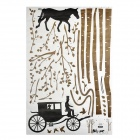 JiaMing JM7046 Carriage in the Forest Pattern Wall Sticker - Dark Khaki + Black (60 x 90cm)