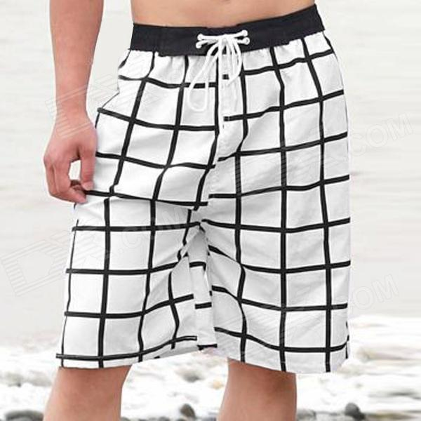 Men's Checked Beach Shorts - White + Black (Size-XL)