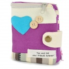 Canvas Love Wallet Purse - Purple + White