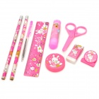 8-in-1 Cute Cartoon Rabbits Pattern Pencil Ruler Glue Stick Stationery Set - Red