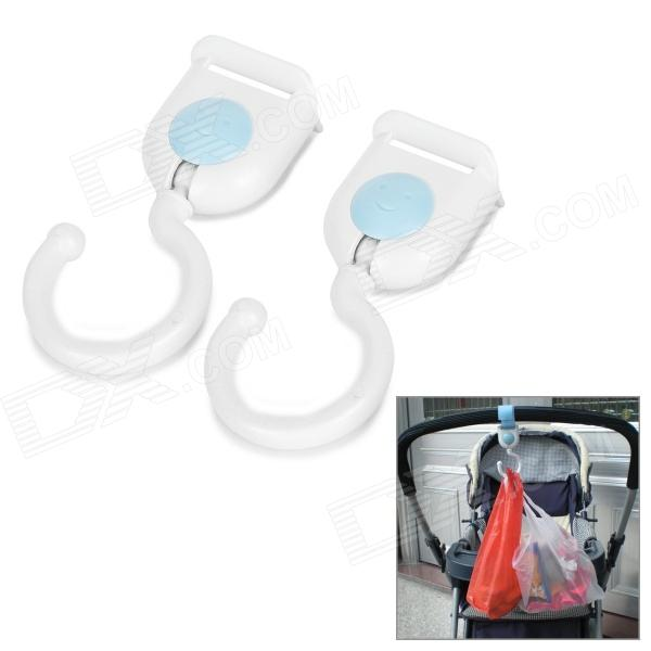 Universal Multifunction ABS Hooks w/ Velcro for Pram / Stroller / Chair - White + Blue (2 PCS)