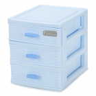 R252B Mini PP Three-layer Desktop Storage Cabinet - Light Blue