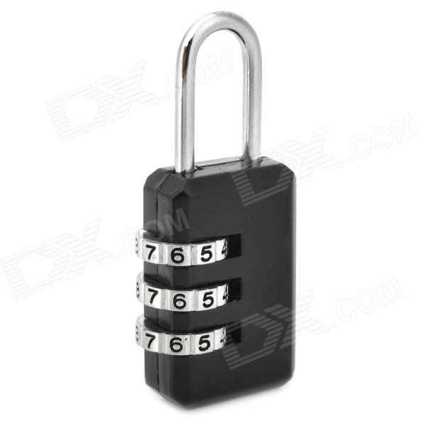 Mini Zinc Alloy Security 3-Digit Pin Combination Padlock - Black + Silver mini 4 digit zinc alloy security resettable combination lock black