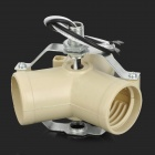 E27 Base Light Lamp Bulb Socket 3 Splitter Adapter - Beige + Silver