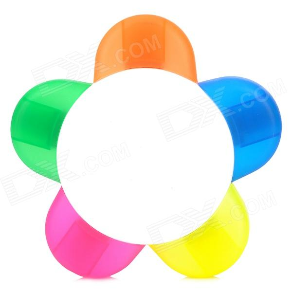 5-in-1 Plum Blossom Shaped Fluorescent Marker Pen - Yellow + Blue + Orange + Green + Deep Pink от DX.com INT