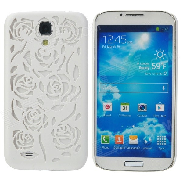 Rose Style Hollow-Out Protective Plastic Back Case for Samsung Galaxy S4 i9500 - White