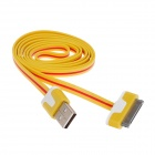 Flat 30-Pin Male to USB 2.0 Male Data Sync / Charging Cable for iPhone 4 / 4S / iPad 2 / 3 - Yellow