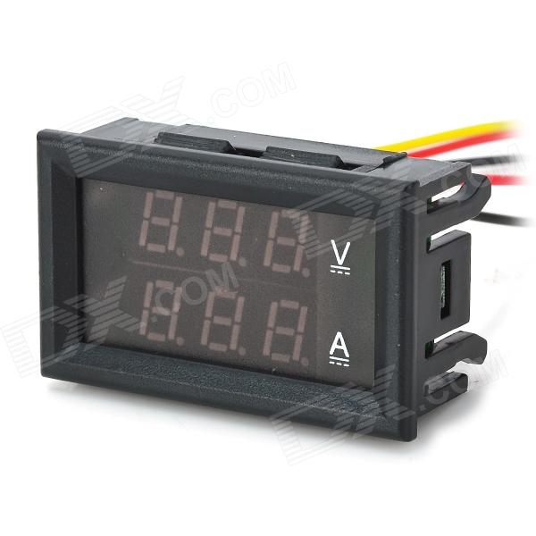 0.28 3-Digital Red LED Dual Display 12V + Shunt DC Voltage Current Measurement - Black - DXDIY Parts &amp; Components<br>Model: 03100292 - Color: Black - Material: Plastic - Features: - Operating voltage: DC 4.5 ~ 30V; - Measure voltage: DC 0~100V; - Minimum resolution(V): 0.1V; - Measure current: 100A (require external shunt); - Minimum resolution(A): 0.1A; - Operating current: &amp;lt;20mA; - Display: 0.28 LED 3-digital tube; - Display color: Red; - Dimensions: 48 x 29 x 21mm; - Mounting cutout: 45.5 x 26.5mm; - Refresh rate: about 500mS / times; - Measure accuracy: 1% (+/- 1-digit); - Operating temperature: -10C~65C; - Operating humidity: 10%~80% (non-condensing); - Working pressure: 80 ~106kPa - Applications: Suitable for automotive / electric cars / motorcycles battery monitoring or other products voltage current measurement; - Notice: - The voltage between the thin red and thin black lines must be within DC 4.5~30V; - The ammeter can only be connected to the negative of the device under test; - Exceeds 5A long-term full load working continuously it is recommended that the measurement side of the leads are directly soldered to the socket; - When the black thin line vacant it is better to use insulating tape around the exposed part of the wire to prevent short circuits; If just be used as a voltmeter it is recommended that the yellow line and the black line were connected together to prevent the ammeter digital flashing - Applications: Suitable for automotive / electric cars / motorcycles battery monitoring or other products voltage current measurement; - Wiring: - Black line (thin): vacant or buck circuit (module) negative; - Red line (thin): power supply+; - Black line (thick): COM common measuring; - Red line (thick): PW+ measuring terminal voltage input positive; - Yellow line (thick): IN+ current input+ (Please refer to the wiring diagrams for more details); - Notice: The voltage between the thin red and thin black lines must be within DC 4.5~30V; - The ammeter can only be connected to the negative of the device under test; - Exceeds 5A long-term full load working continuously it is recommended that the measurement side of the leads are directly soldered to the socket; - When the black thin line vacant it is better to use insulating tape around the exposed part of the wire to prevent short circuits; - If just be used as a voltmeter it is recommended that the yellow line and the black line were connected together to prevent the ammeter digital flashing - Packing List: - 1 x Digital volt amp meter - 1 x 100A / 75mV DC current shunt<br>