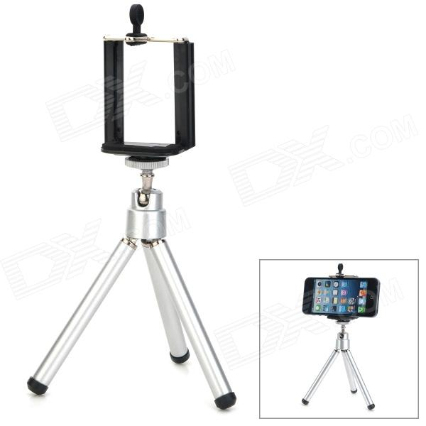 Universal Desktop Plastic Retractable Clamp + Foldable Tripod Holder for Cellphone - Black + Silver