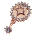 Stylish Star Style Rhinestone + Opal Home Button Sticker for Iphone 4S / 5 / Ipad - Golden