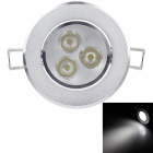 NBC-DL08A 3W 250lm 6000K 3-LED White Light Ceiling Lamp - Silver (220V)