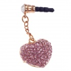 Stylish Shiny Rhinestone Heart Shape 3.5mm Anti-dust Plug for Iphone 4S / HTC + More - Pink