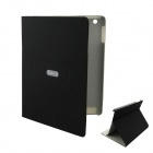 EBOX 161P Ipad Simple Business Style Matte PU Leather Case Cover Stand for Ipad 2 / 3 / 4 - Black
