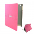 EBOX 161P Ipad Simple Business Style Matte PU Leather Case Cover Stand for Ipad 2 / 3 / 4 - Pink
