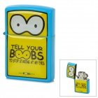 Cute Cartoon Pattern Zinc Alloy Kerosene Oil Lighter - Yellow + Blue + Black + White