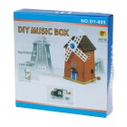 DY-005 DIY Assembly Wood Music Box - Yellow + Brown