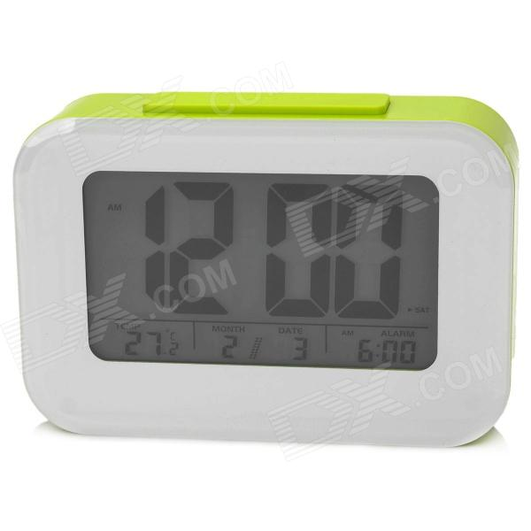 Smart Light Sensor Desk Alarm Clock w/ Date / Week / Temperature Display - Green + White (3 x AAA)