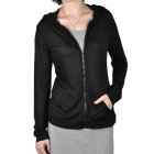 Women's Sun Protection Long-Sleeve Zippered Coat - Black (Size L)